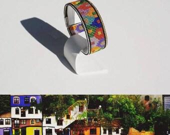 """Bracelet """"Norwegian Houses"""" made of 1500 beads"""