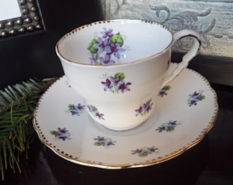 """Royal Stafford """"Sweet Violets"""" Teacup and Saucer, Gold Dotted Border with Purple Flower Clusters"""