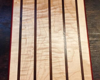 Wooden Cutting Board - Padauk, Curly Maple, and Walnut Wood