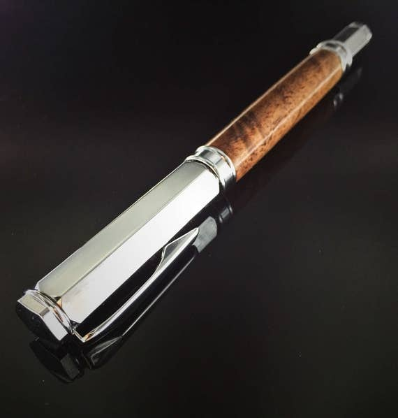 Flame Walnut Wood Rollerball Pen - Chrome with magnetic cap