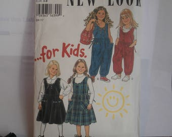 Simplicity New Look Sewing Pattern 6331 Girl's Jumper Dress & Overalls Size 3-8