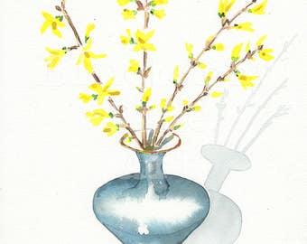 Forsythia watercolor, Forsythia in a vase, Flowers in vase print, Yellow forsythia art, Watercolor print plant, Tamara Jare  art, poster