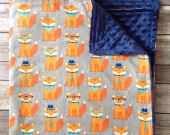 Fox Baby Boy Blanket, Toddler Blanket, Personalized Baby Boy Blanket, Fox Nursery, Stroller Blanket, Fox Baby Bedding, Baby Shower Gift