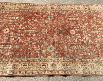 Vintage turkish rug faded red vintage rug  6 x 4