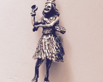 Dancing lady holiday trip sterling silver charm vintage # 110