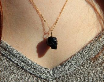 Crystal Skull Necklace in Black, Swarovski Crystal Skull on a Gold-Filled Chain