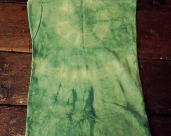 Unique hand dyed tie dyed light green racerback top size S