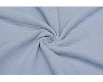 Cotton Double Gauze Fabric - Solid in Light Blue - Swaddle Muslin Fabric - UK Seller