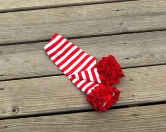 Christmas candy cane red stripes ruffle leggings, girls red stripes ruffle icings, newborn knit ruffle pants, coming home outfit, truffles,