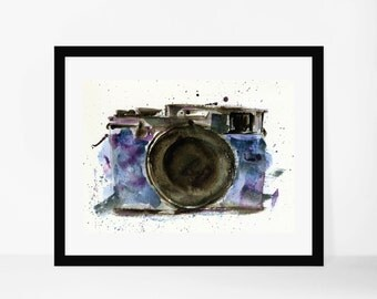 Watercolor camera, 5x7, fine art prints, watercolor, photography, camera art, gallery wall, photographer love, home decor, office decor