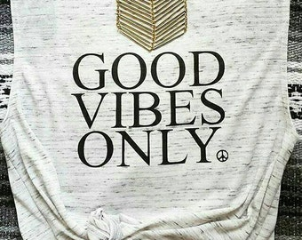 GOOD VIBES ONLY, White Marble Tank, Good Vibes