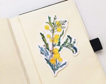 Acacia Flower Vinyl Stickers, Flower Art, Iphone Stickers, Ipad, Vinyl Sticker, Water Resistant Stickers, Acacia Flower Art