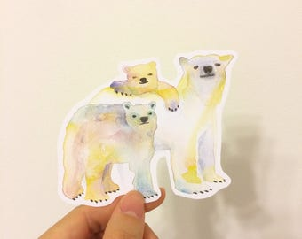 Polar Bear Family Water Resistant Stickers, Iphone Stickers, Ipad, Vinyl Sticker, Water Resistant Stickers