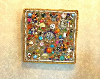 Boho Decor, Repurposed Jewelry, Jewelry Wall Art, Abstract Wall Art, Upcycled Jewelry Art, Mosaic Square, Jewelry Square, Boho Square