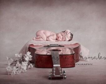 digital backdrop  background newborn baby   girl   guitar  pink