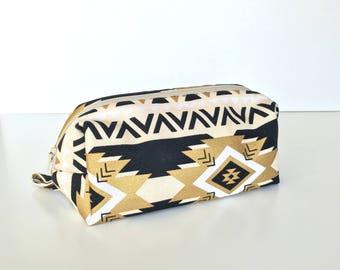 Makeup Bag, cosmetic bag, toiletry bag, tribal print, travel bag