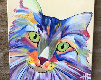 Colorful Cat - Abstract Cat - Cat Painting - Multicolor - Pet Portrait