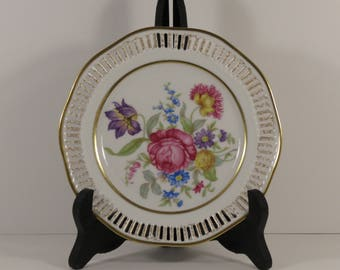 Set of Five Dresden Style HMS Royal Hanover Multi Floral Pierced Salad Plates Accented with Gilt.