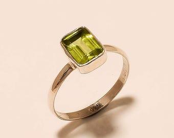Wedding Ring Sterling Silver Ring Peridot Gemstone Ring Natural Peridot Ring 925 Solid Sterling Silver Ring Peridot Stone Ring Size7.5 E257