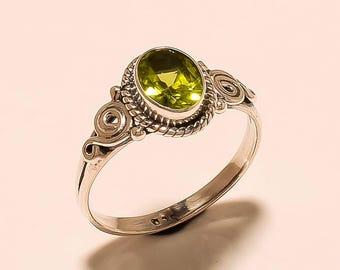 Wedding Ring Sterling Silver Ring Peridot Gemstone Ring Natural Peridot Ring 925 Solid Sterling Silver Ring Peridot Oval Ring Size 8 E-243