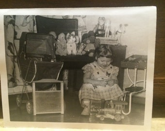 Happy Little Girl Playing with Toys, Vintage Photo Old Photo Antique Black & White Photography Paper Ephemera Collectibles