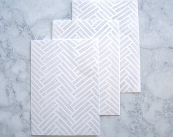 Emboss White Herringbone Pattern Greeting Card, Hand-stamped Linocut, Block print, 5x7 Blank Card