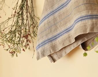 Linen tea towel,linen towels, striped linen,kitchen towels, blue linen, softened linen, tea towel, dishcloth