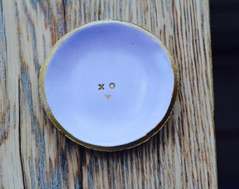 XO lavender ring and jewelry dish