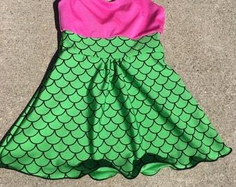 Mermaid dress, swim dress, tankini top, Mermaid top, Girls mermaid dress