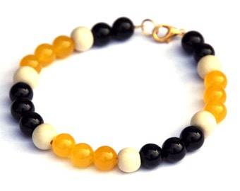 Topaz and Onyx bracelet - Imperial yellow topaz - Black onyx - November birthstone - Gemstones and wood
