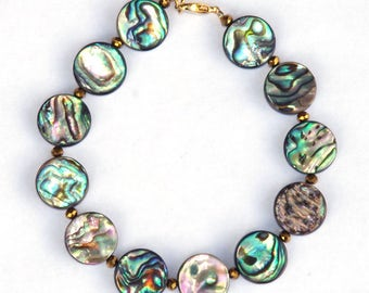Abalone bracelet - Mother of pearl - Sea opal - blue and green - iridescent bracelet - with gold plated Czech glass beads - gold wire