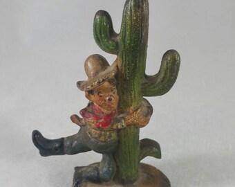 John Wright Western Cowboy on Cactus Cast Iron Figure