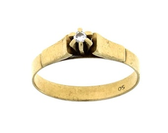 Vintage Gold Ring 9k With Diamond