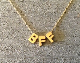 Gold Vermeil BFF Initials on a Gold Filled Chain