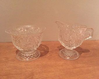 Thistle Design Glass Sugar Bowl & Matching Cream Jug - Vintage Swedish