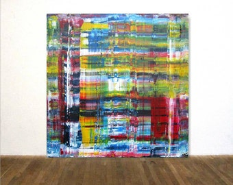 """Large Acrylic Painting in Gerhard Richter Technique 80 x 80 cm (32"""" x 32"""") Original Art OOAK Abstract painting"""