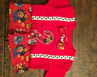 Red Paw patrol boys shorts outfit
