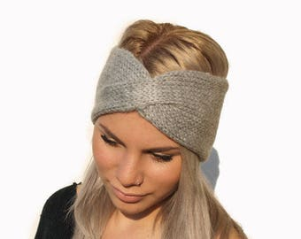 Gray Hand Knit Headband / Womens Ear Warmer / Hand knitted Turban / Gift for her / Hair accessory/ Knit turban