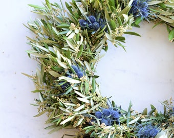 Blue Thistle and Olive Wreath | Summer Wreath | Summer Wreaths for Front Door | Front Door Wreath | Wreaths for Front Door