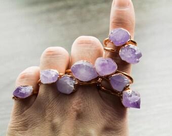 Raw Amethyst Ring, Raw Gemstone Ring, Amethyst Jewelry, Jewellry Handmade, Raw Crystal Jewelry, Boho Ring, Boho Jewelry, Chunky Ring