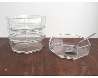 Vintage Bowls, Clear Glass Octagon Bowls, Vintage Clear Glass Bowls