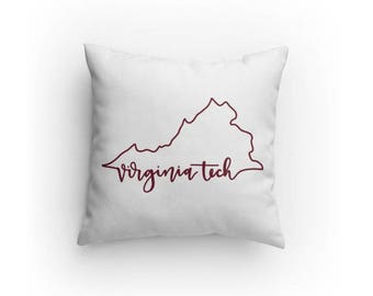 Virginia Tech VT Outline Pillow double sided | Hokies | Gift | 14x14 inches | Blacksburg | VA