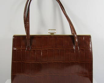 Vintage 1950's NORVIC Kelly Handbag, Brown, Tan, Everyday