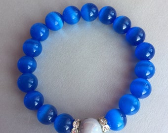 Cobalt Blue Cat's Eye Bead Bracelet with Grey Ceamic Bead and Zirconia Rings- Gemstone Bracelet