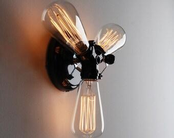 BULBS INCLUDED Vintage Industrial triple 3 head wall light sconce antique retro french. Art deco edison bulb. rustic unique black chrome