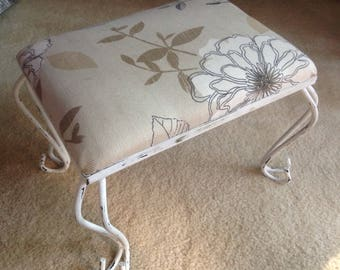 Rustic Floral Footstool or Raised Cat Bed