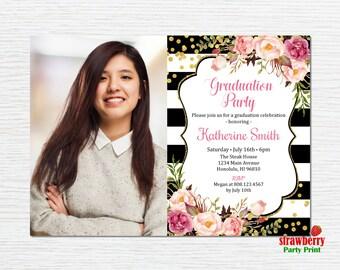Graduation Party Invitation. Graduation Invitation for girls. High School Graduation. College Graduation. 2017 Grad. Printable Invitation G4