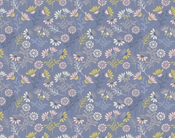 "By The HALF YARD - A Little Bird Told Me by Lewis and Irene, #A65.3 Cottage Flower Welsh Blue - Pink, Tan, White, Yellow 3/8"" Flowers"