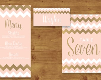 Blush Pink and Rose Gold Place Cards, Table Numbers, Menu Cards - Rose Gold - Blush Pink - Table Name - Name Card - Wedding Stationery