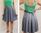 Grey pleated skirt / Knee-length pleated skirt / Vintage skirt / Refashioned clothing / Medium / US 6 8 / UK 10 12 / Europe 38 40